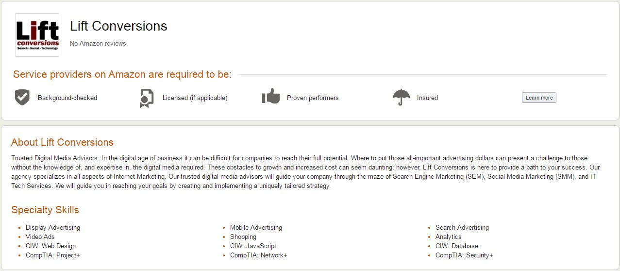 Amazon Business Services - Lift Conversions